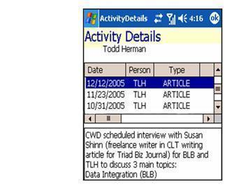 Activity details displayed on mobile device