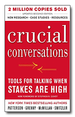 "Cover to the book ""Crucial Conversations: Tools for Talking When Stakes Are High"""