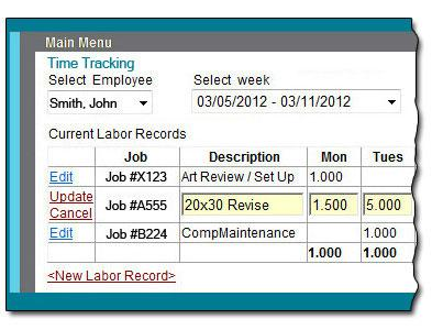 Time Tracking Screen - Left Side