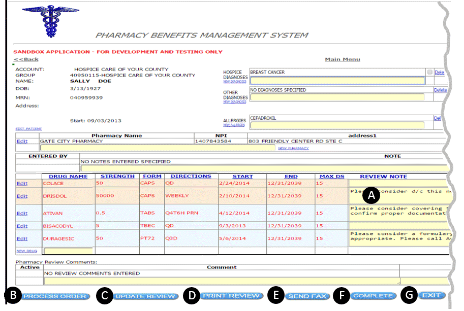 Screen Shot of Input page on Client's web interface