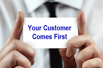Business card says customer comes first